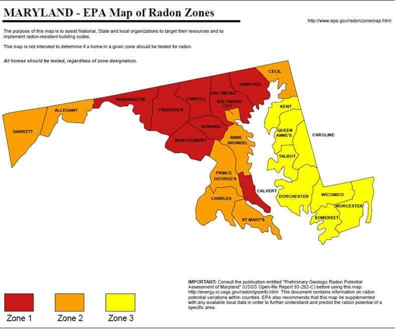 Maryland Home Inspector Radon EPA Zones High Risk