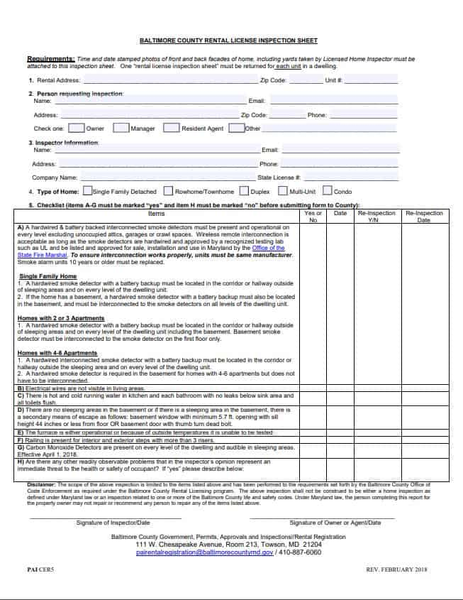 Baltimore County Rental Inspection Checklist Form