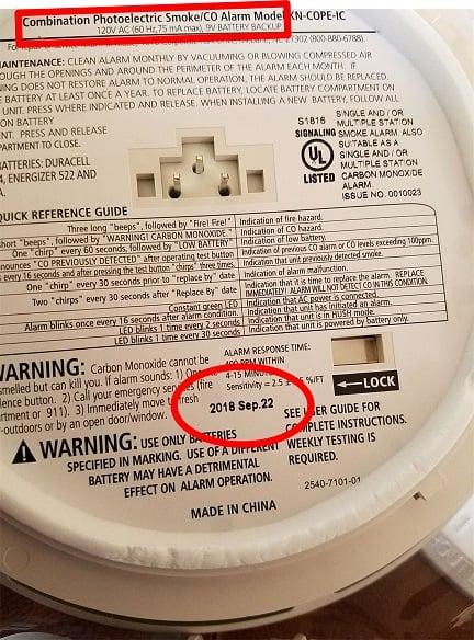 Smoke Alarm Hardwired with Expiration